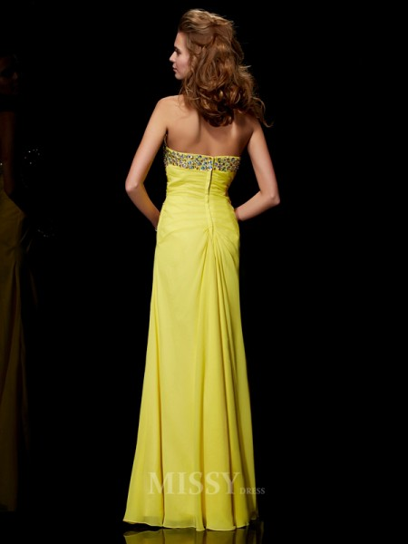 A-Line Sweetheart Floor-length Chiffon Evening Dress With Sequin