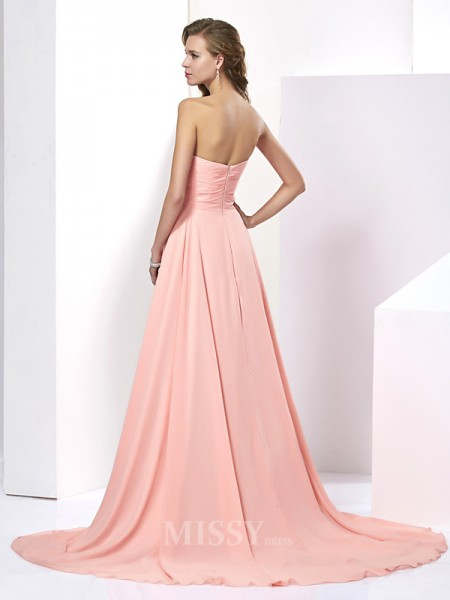 A-Line Chiffon Sweetheart Sweep Train Evening Dress With Pleats