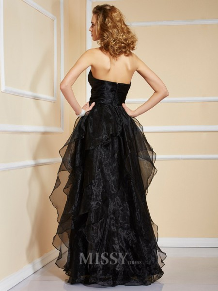 A-Line Organza Strapless Ruffles Floor-Length Evening Dress With Ruched