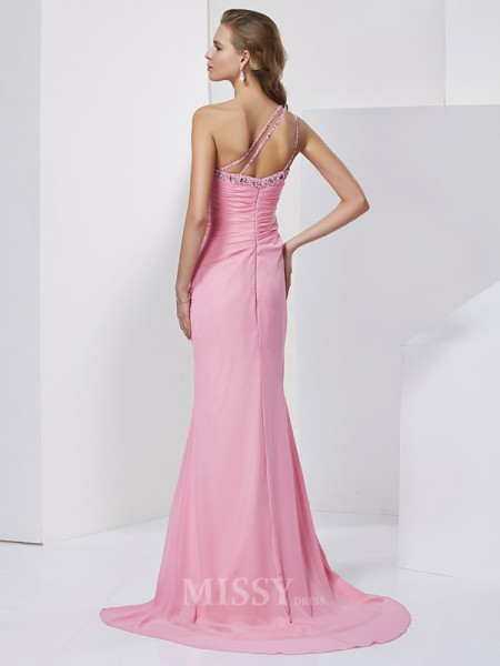 Sheath One-Shoulder Sweep Train Chiffon Evening Dress With Sash