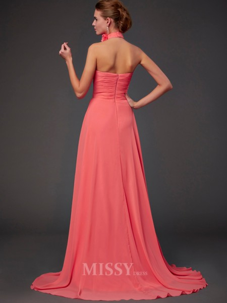 A-Line Halter Chiffon Bridesmaid/Evening Dress With Rhinestone