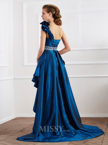 A-Line One-Shoulder Taffeta Asymmetrical Evening Dress With Beading