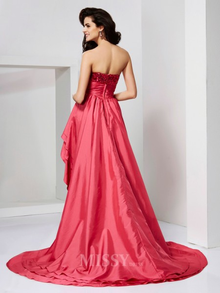 A-Line Strapless Paillette Asymmetrical Evening Dress With Beading