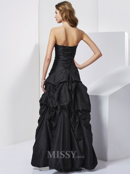 Sheath Strapless Taffeta Floor-Length Evening Dress With Beading