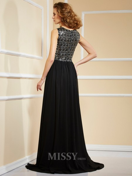 A-Line Chiffon High Neck Sweep Train Evening Dress With Beading