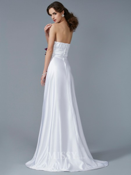 A-Line Strapless Satin Sweep Train Evening Dress With Pleats