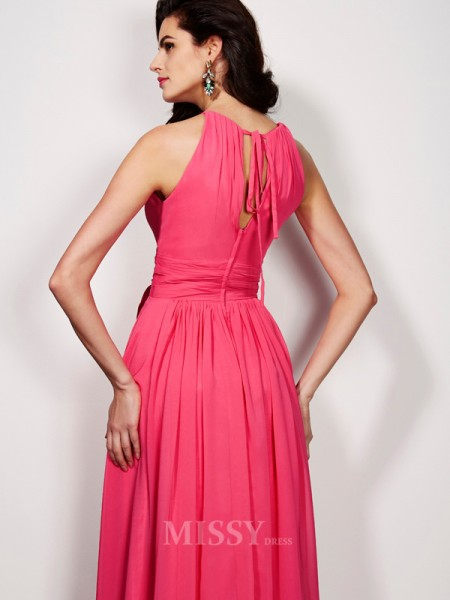 A-Line Floor-length High Neck Chiffon Evening Dress With Sash