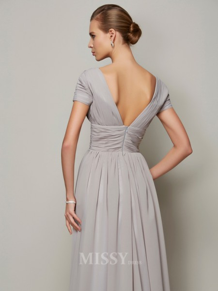 A-Line V-neck Floor-length Short Sleeves Chiffon Evening Dress With Beading