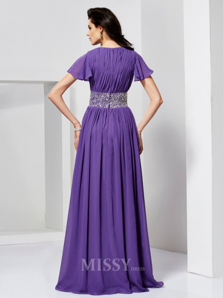 A-Line Short Sleeves V-neck Floor-Length Chiffon Evening Dress With Embroidery