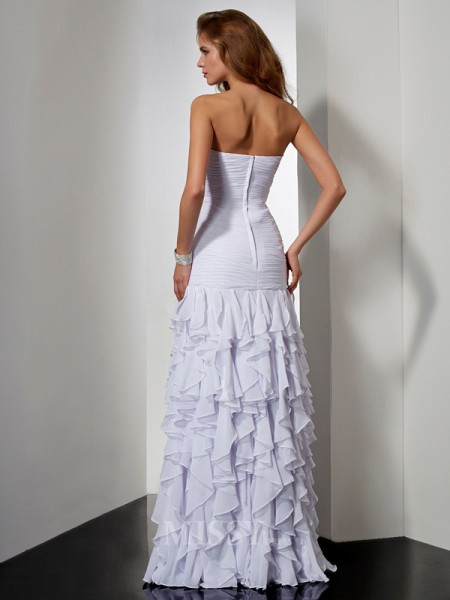 A-Line Floor-Length Sweetheart Chiffon Evening Dress With Lace