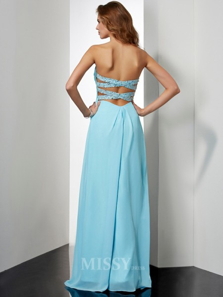 A-Line Sweetheart Floor-Length Chiffon Evening Dress With Beading