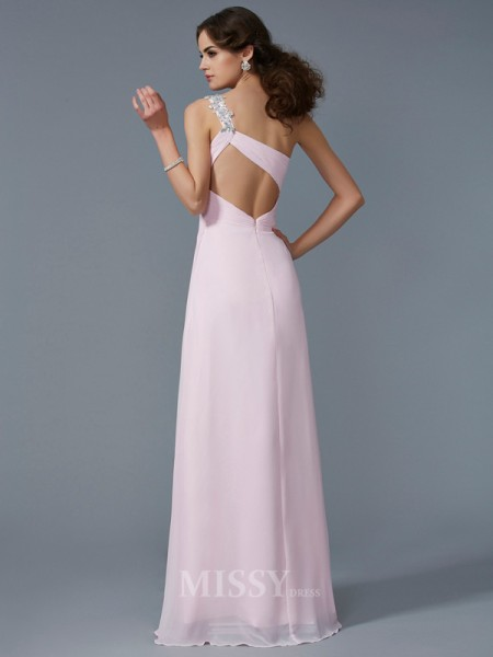 A-Line One-Shoulder Chiffon Floor-Length Evening Dress With Sequin