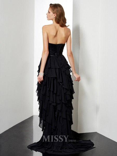 A-Line Sweetheart Asymmetrical Chiffon Evening Dress With Sash