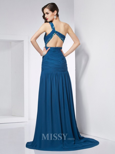 A-Line One-Shoulder Chiffon Sweep Train Evening Dress With Ruffles