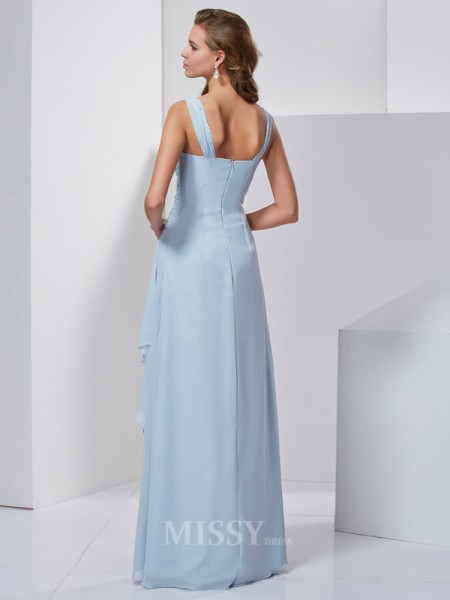 A-Line Straps Floor-Length Chiffon Evening Dress With Beading
