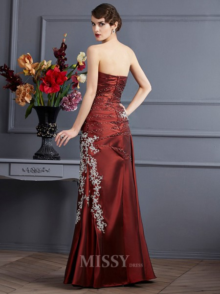 Sheath Strapless Floor-Length Taffeta Evening Dress With Sash