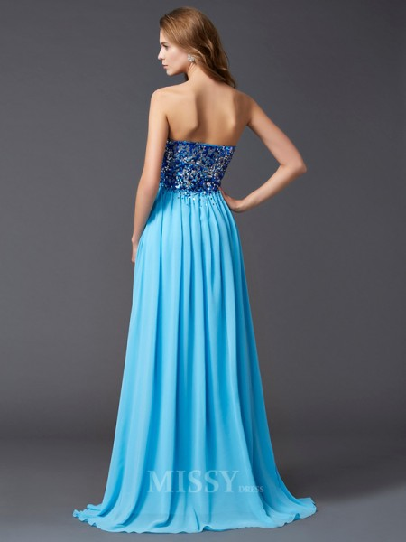A-Line Chiffon Paillette Sweetheart Sweep Train Evening Dress With Beading