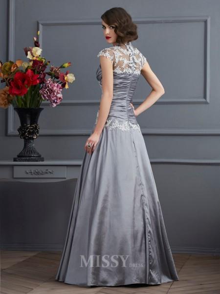 A-Line Sweetheart Short Sleeves Taffeta Floor-Length Evening Dress With Rhinestone