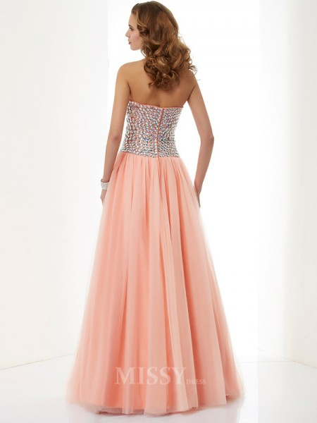 A-Line Sweetheart Floor-Length Elastic Woven Satin Evening Dress With Lace