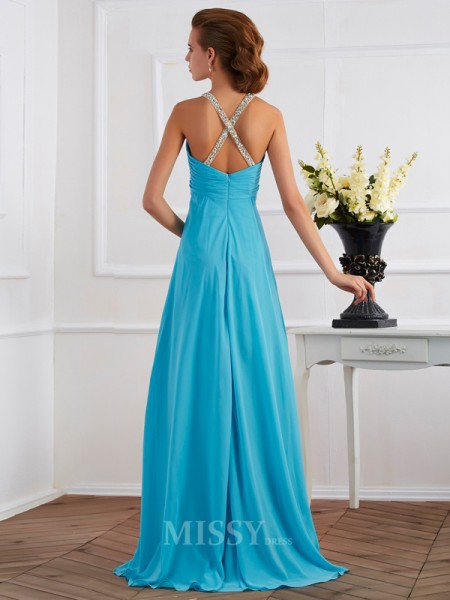 Empire Halter Floor-length Chiffon Evening Dress With Beading