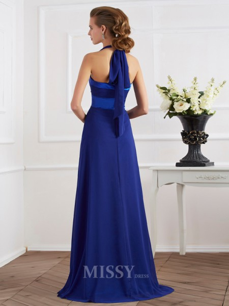 A-Line Halter Floor-Length Chiffon Evening Dress With Ruffles