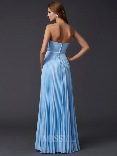 A-Line Strapless Chiffon Floor-Length Evening Dress With Embroidery
