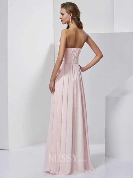 A-Line Strapless Chiffon Floor-Length Evening Dress With Pleats