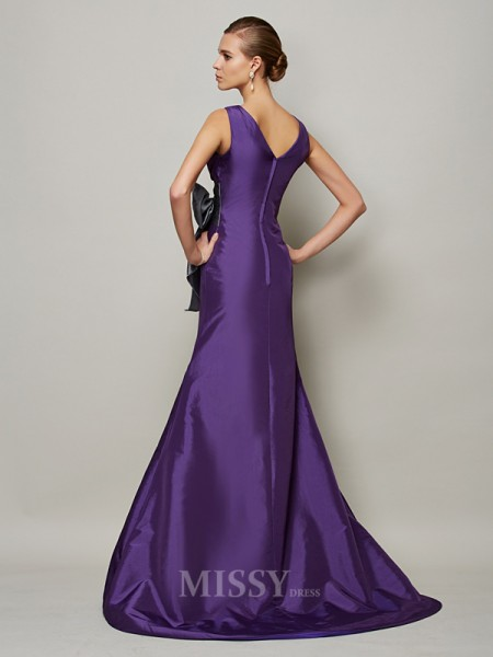 A-Line Taffeta V-neck Floor-Length Evening Dress With Sash