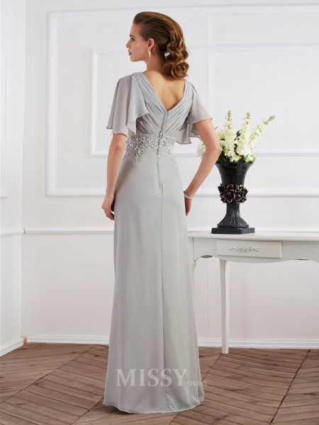 Sheath Short Sleeves V-neck Floor-Length Chiffon Evening Dress With Sequin