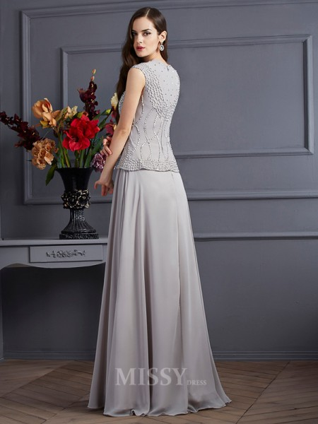 A-Line Square Chiffon Floor-Length Evening Dress With Beading