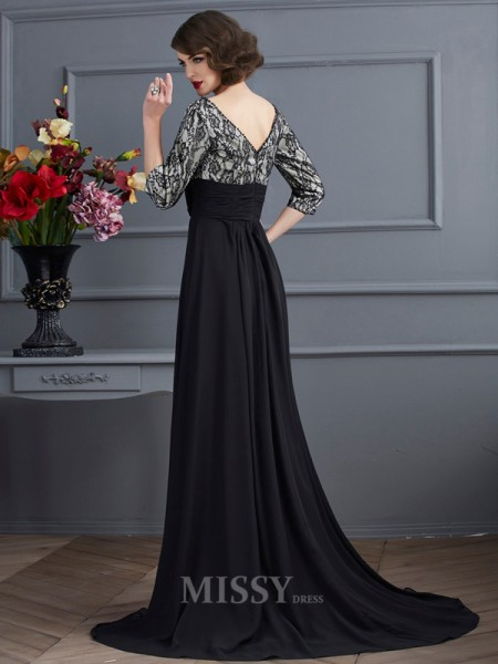 Sheath V-neck 3/4 Sleeves Chiffon Sweep Train Evening Dress With With Lace Beading
