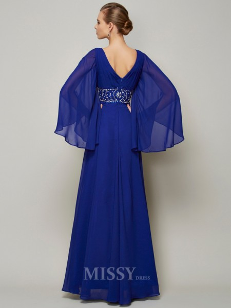 A-Line V-neck Floor-length Long Sleeves Chiffon Evening Dress With Applique