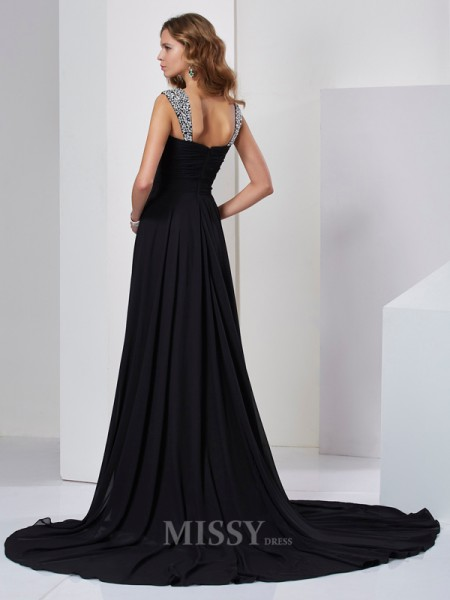 Sheath Straps Sweep Train Chiffon Evening Dress With Beading