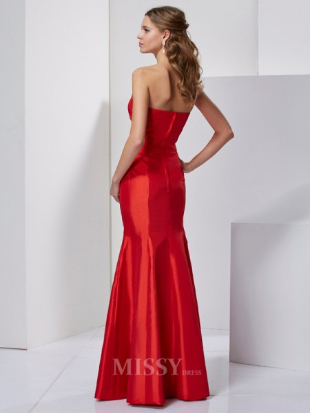 Mermaid Sweetheart Taffeta Floor-Length Evening Dress With Applique Pleats