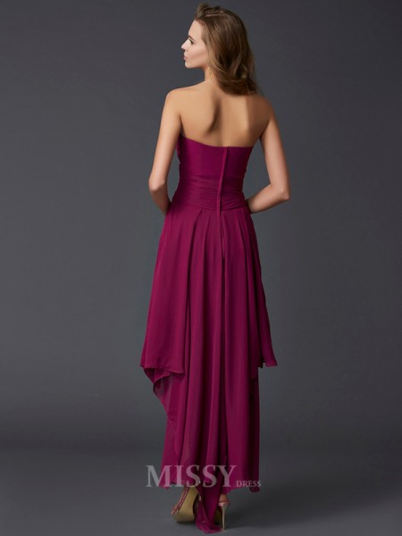A-Line Sweetheart Chiffon Asymmetrical Evening Dress With Lace Pleats