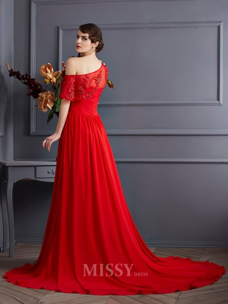 A-Line One-Shoulder Chiffon Court Train Evening Dress With Sequin