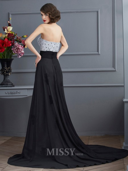A-Line Sweetheart Chiffon Sweep Train Evening Dress With Pleats