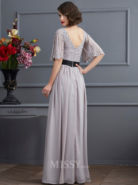 A-Line High Neck 1/2 Sleeves Chiffon Floor-Length Evening Dress With Beading