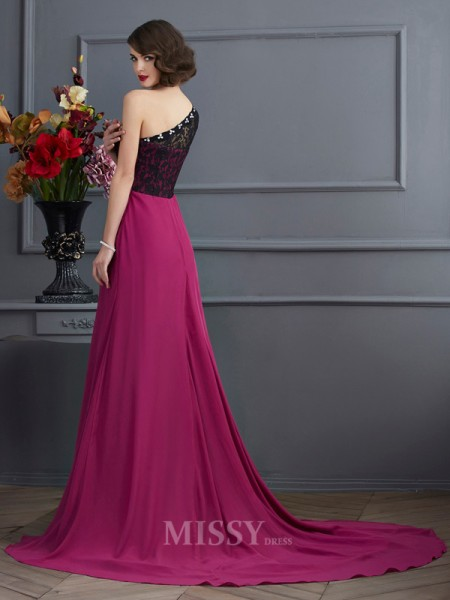 A-Line One-Shoulder Sweep Train Chiffon Evening Dress With Applique