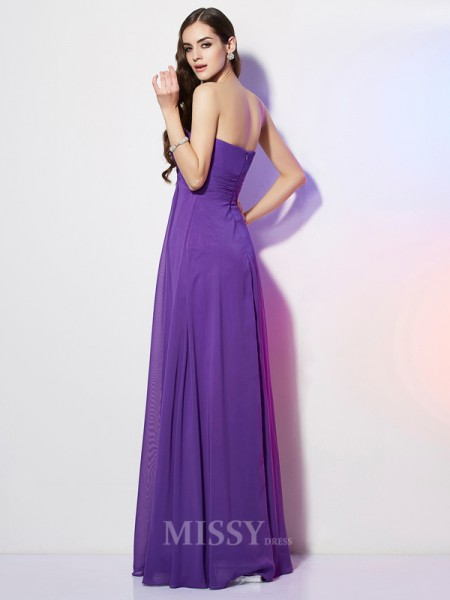 A-Line Sweetheart Chiffon Floor-Length Evening Dress With Lace