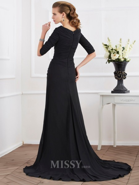 A-Line Chiffon 1/2 Sleeves Sweep Train Evening Dress With Embroidery
