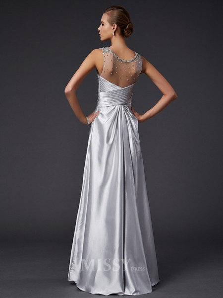 A-Line V-neck Floor-length Elastic Woven Satin Evening Dress With Beading