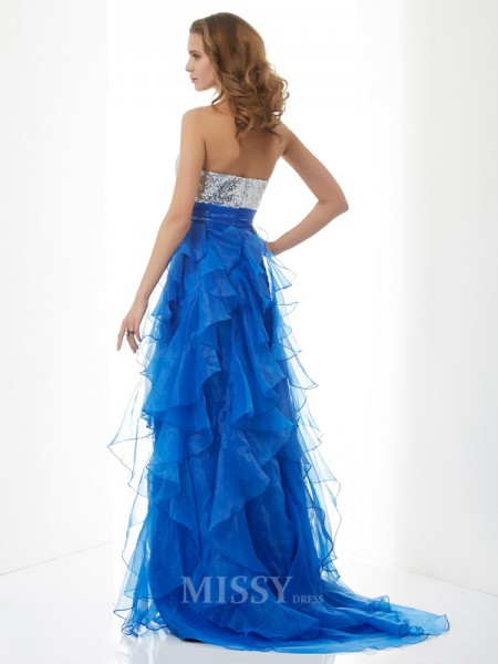 A-Line Sweetheart Sweep Train Satin Evening Dress With Applique