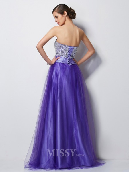 A-Line Sweetheart Satin Floor-Length Evening Dress With Ruched
