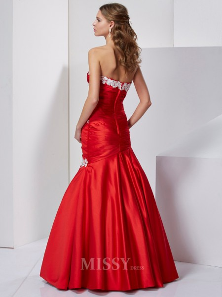 Mermaid Sweetheart Satin Floor-Length Evening Dress With Embroidery