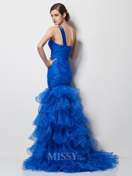 Mermaid One-Shoulder Sweep Train Tulle Evening Dress With Sequin