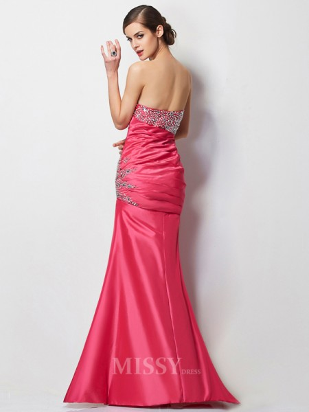 Mermaid Sweetheart Floor-Length Taffeta Evening Dress With Rhinestone