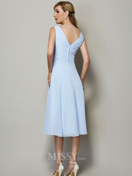 A-Line V-neck Tea-Length Chiffon Bridesmaid Evening Dress With Beading Pleats