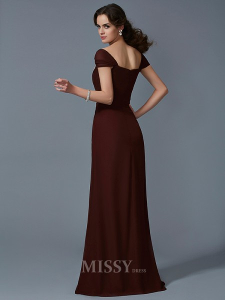 A-Line Strapless Short Sleeves Floor-Length Chiffon Evening Dress With Lace