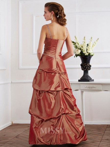 Sheath Spaghetti Straps Taffeta Floor-Length Evening Dress With Embroidery